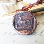 Copper Horse Jumping Gate Pendant