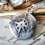 Silver Small Compass Rose Pendant