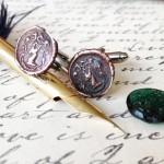 Copper Stag Crest Cufflinks