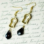 Gold Steampunk Keyhole Earrings