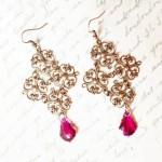 Filigree Gothic Cross Copper Earrings with Fucshia Swarovski Crystals