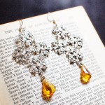 Silver Filigree Gothic Cross Earrings with Amber Swarovski Crystals