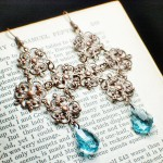 Copper Filigree Gothic Cross Earrings with Blue Aquamarine Swarovski Crystals