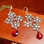Silver Filigree Gothic Cross Earrings with Fucshia Swarovski Crystals