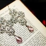 Silver Plated Filigree Gothic Cross Earrings with Amethyst Swarovski Crystals
