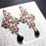 Copper Filigree Gothic Cross Earrings with Black Swarovski Crystals
