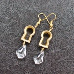 Gold Keyhole Earrings with Clear Swarovski Crystals