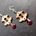 Antique Keyhole Earrings with Fucshia Swarovski Crystals