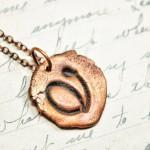 Copper Cursive Letter Necklace