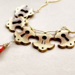 Keyhole Necklace with Coral Red Droplet - Vintage Escutcheon Hardware
