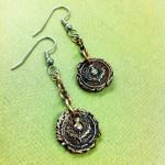 Scottish Thistle Antique Wax Seal Earrings - Copper Scotland Earrings